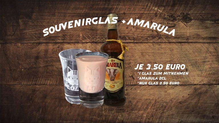Schnapsglasaktion Amarula Merchandise